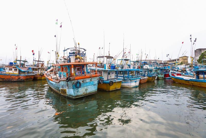 Fiskebåtställning i den Galle hamnen, Sri Lanka royaltyfri foto
