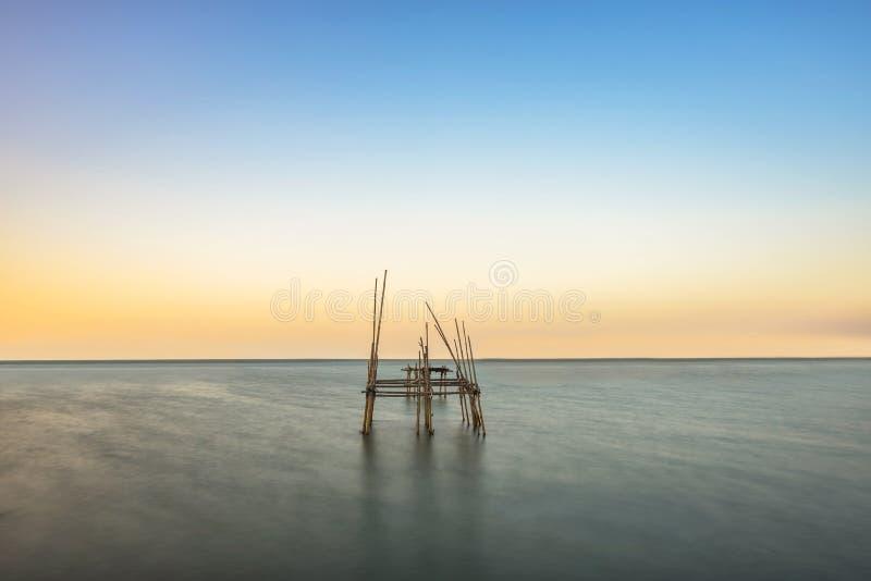 Fiskebur i havet royaltyfri foto