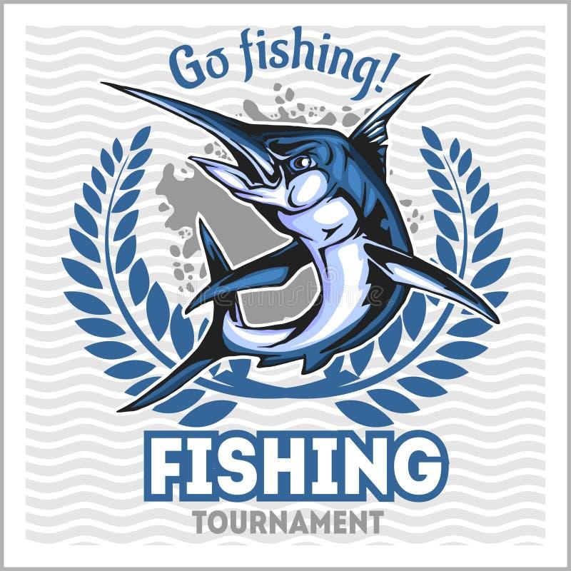 Fiskeemblem med den blåa marlinen Emblem- och designbeståndsdelar stock illustrationer