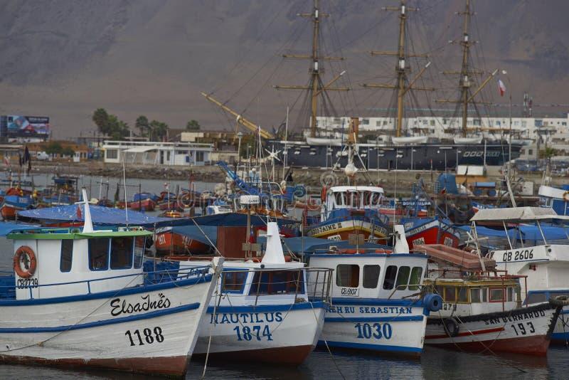 Fiskehamn av Iquique, Chile arkivfoto