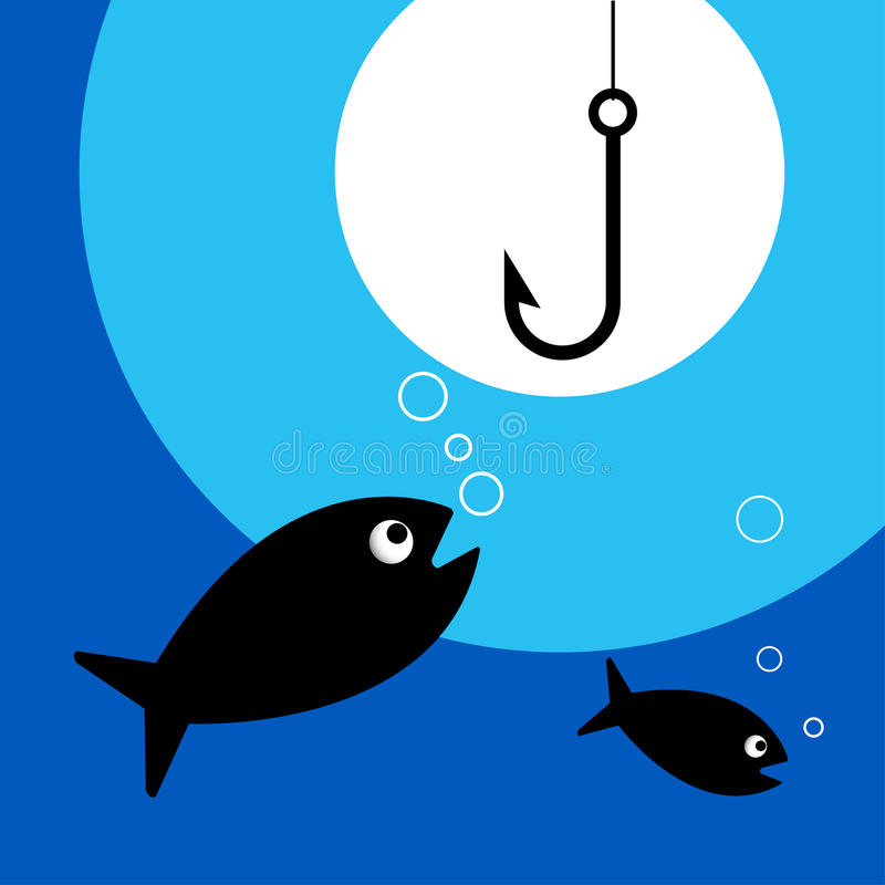 fiskekrok stock illustrationer