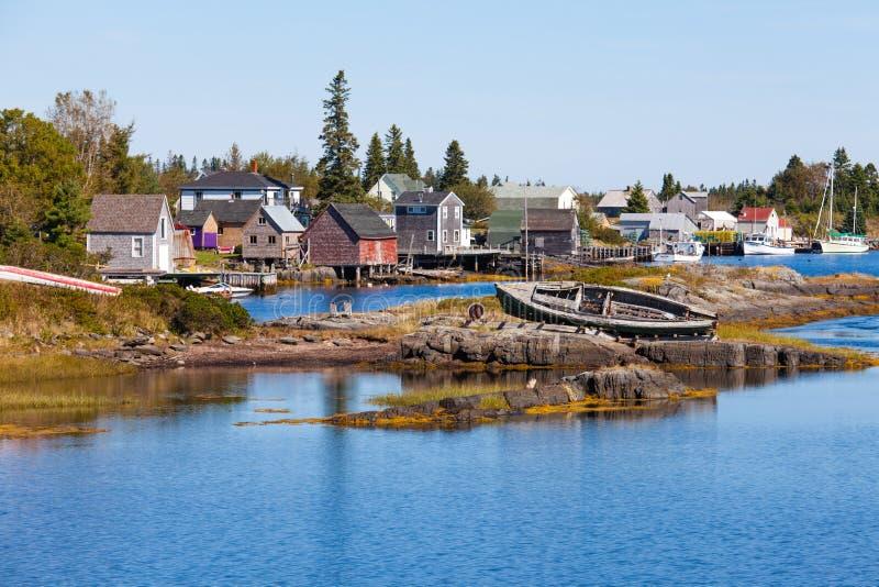 Fiskeläget av blått vaggar Nova Scotia NS Kanada fotografering för bildbyråer