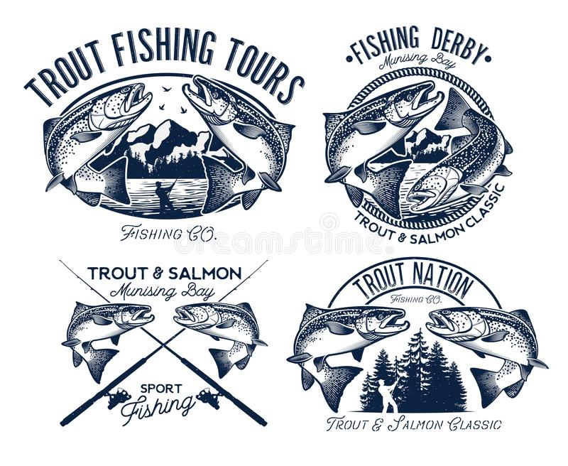 Fiskelogouppsättning royaltyfri illustrationer