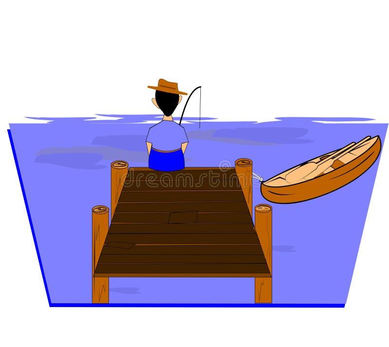 fiskeman vektor illustrationer