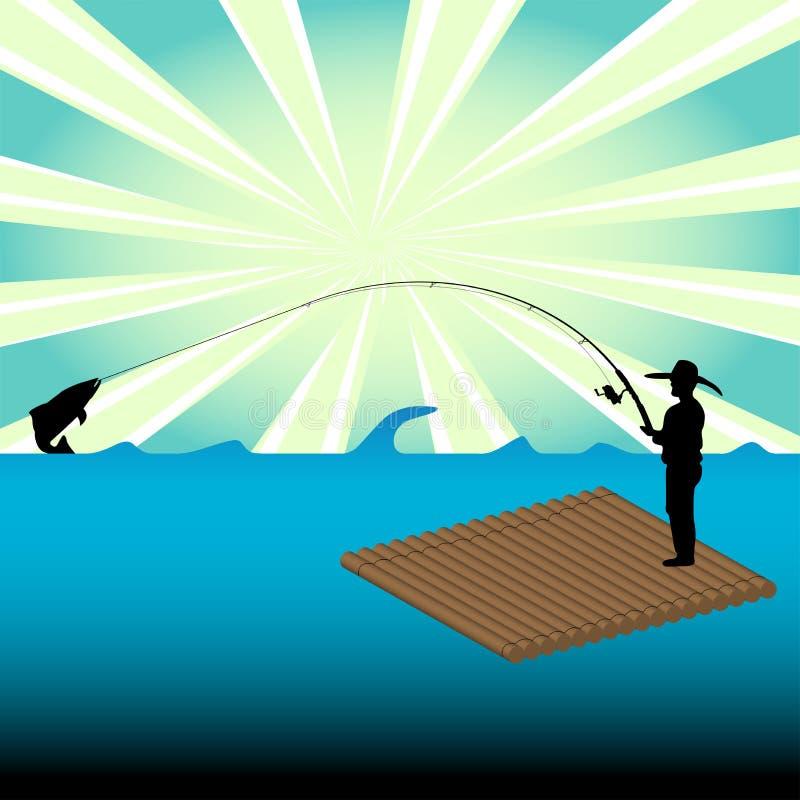 fiskemanraft vektor illustrationer