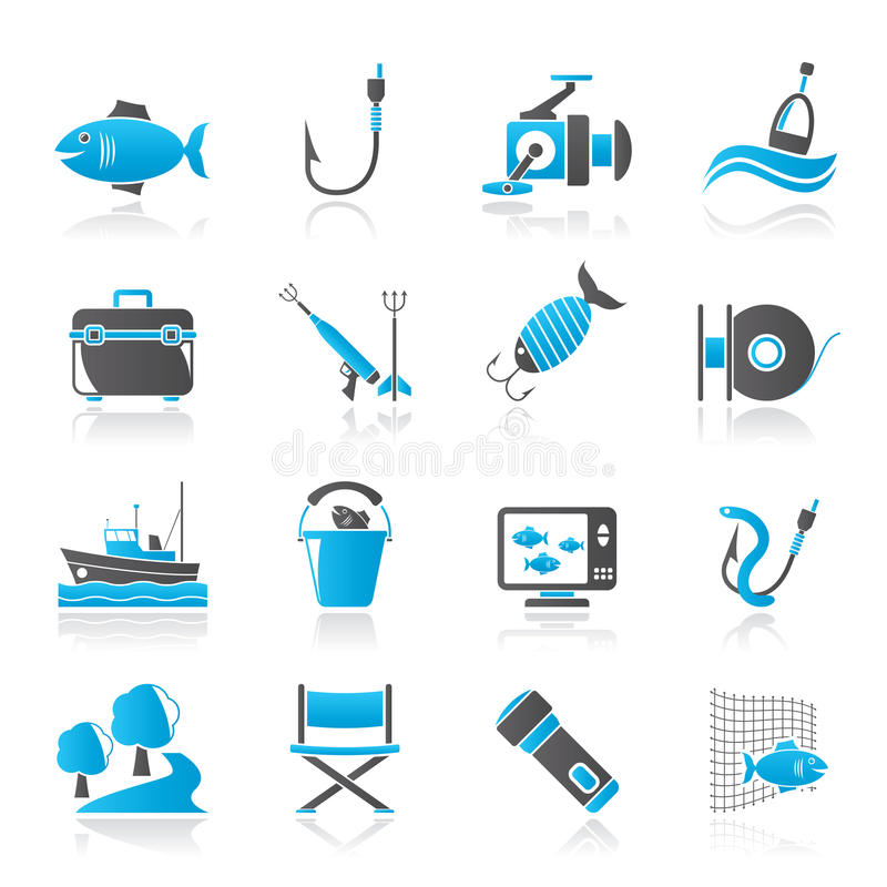 Fiskenäringsymboler stock illustrationer