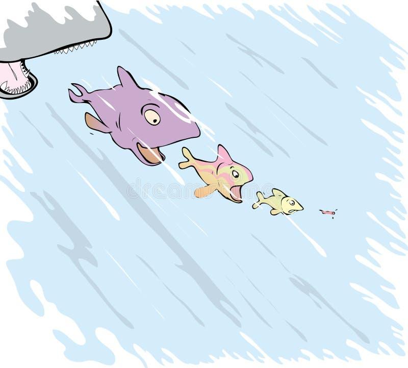 Fisken äter fisken royaltyfri illustrationer