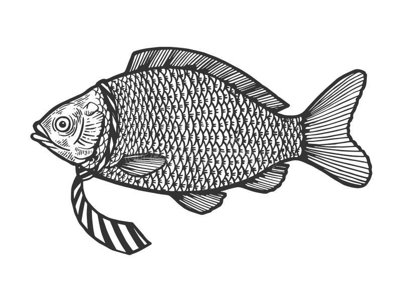 Fisken i slips skissar gravyrvektorn vektor illustrationer