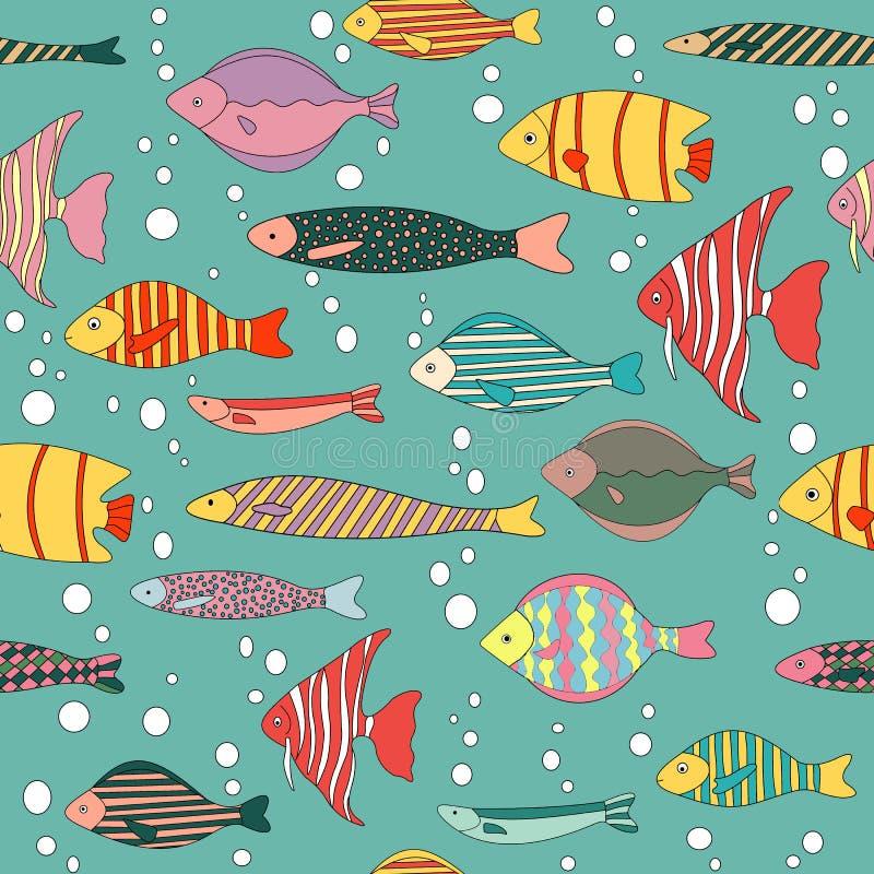 Fisken m?nstrar stock illustrationer
