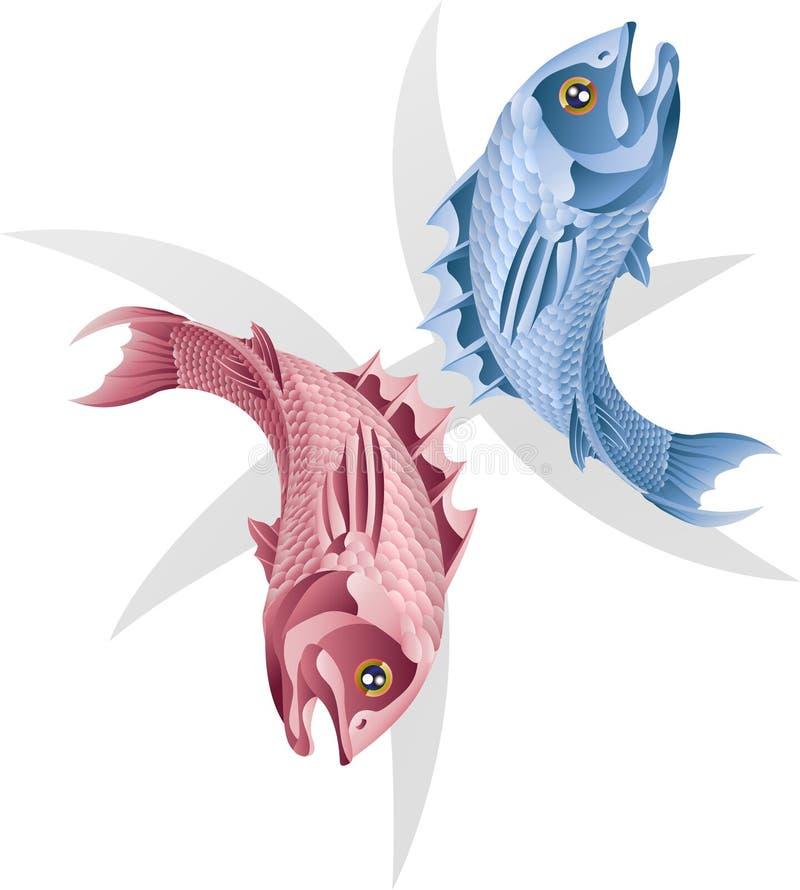 fisken pisces undertecknar stjärnan royaltyfri illustrationer
