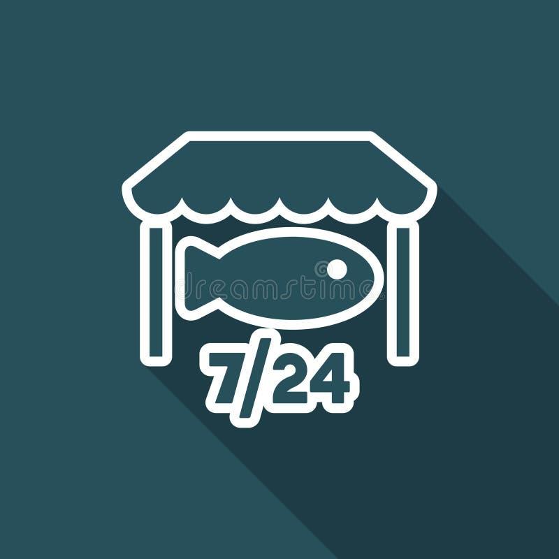 Fisken shoppar öppen 7/24 - vektorrengöringsduksymbolen stock illustrationer