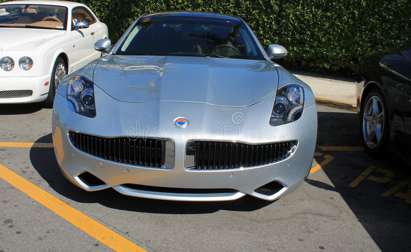 Fisker karma front end. Headlamps and grill royalty free stock images