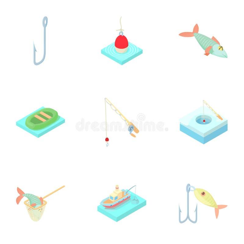 Fiskerisymboler uppsättning, tecknad filmstil royaltyfri illustrationer