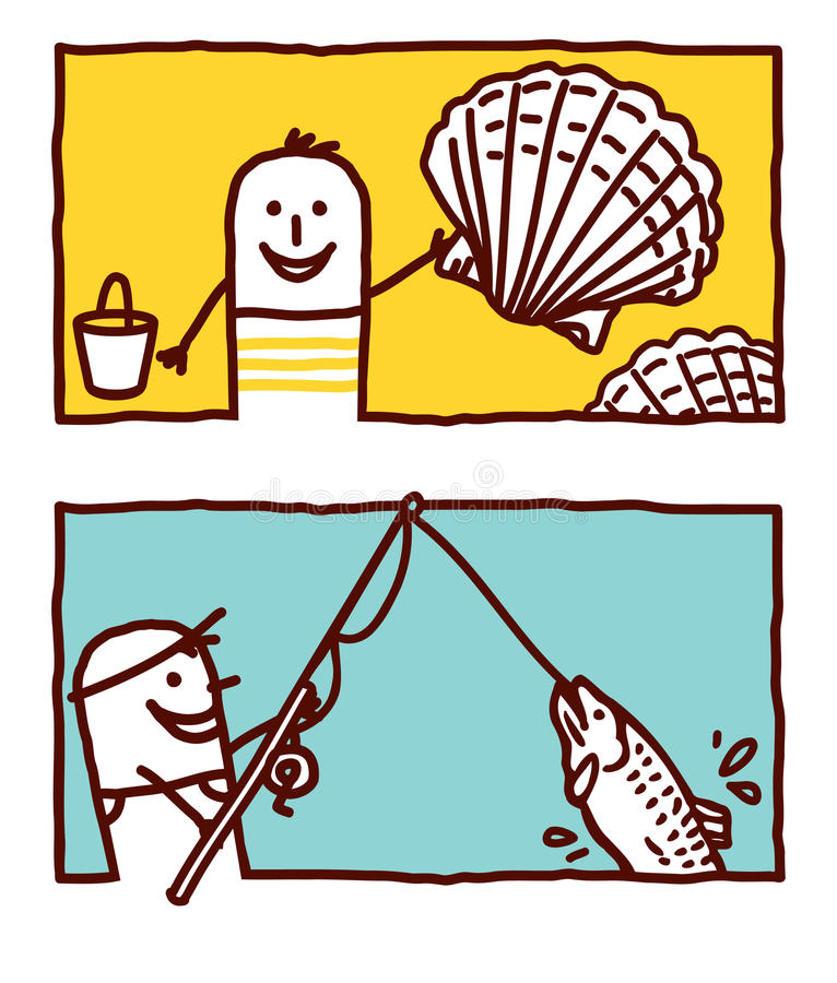 fiskeskal royaltyfri illustrationer