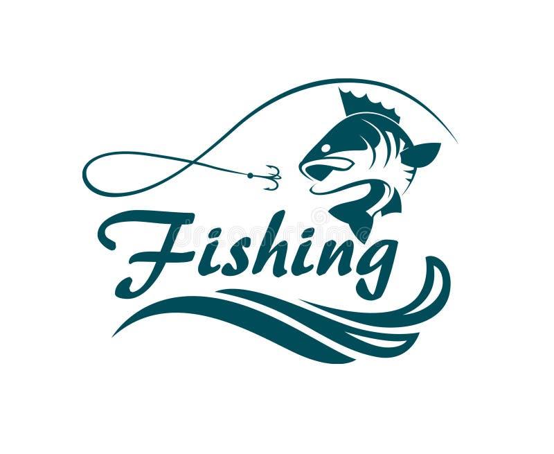 Fiskesportemblem royaltyfri illustrationer