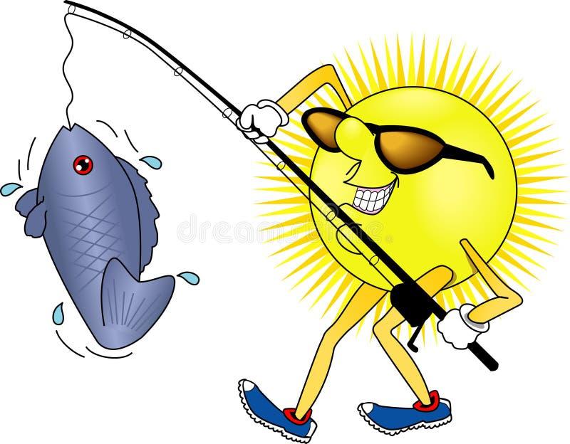 fiskesun royaltyfri illustrationer
