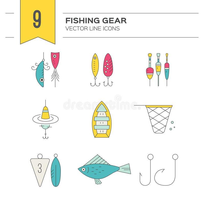 Fiskesymboler royaltyfri illustrationer