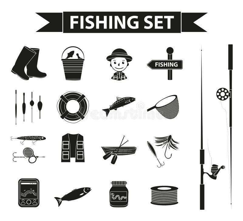 Fiskesymbolsuppsättning, svart kontur, översiktsstil Fiskerisamlingsobjekt, designbeståndsdelar som isoleras på vit vektor illustrationer