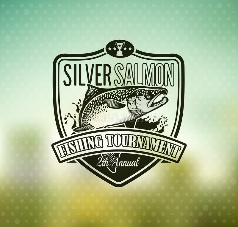 Fiskevektorlogo Salmon Fish symbol vektor illustrationer
