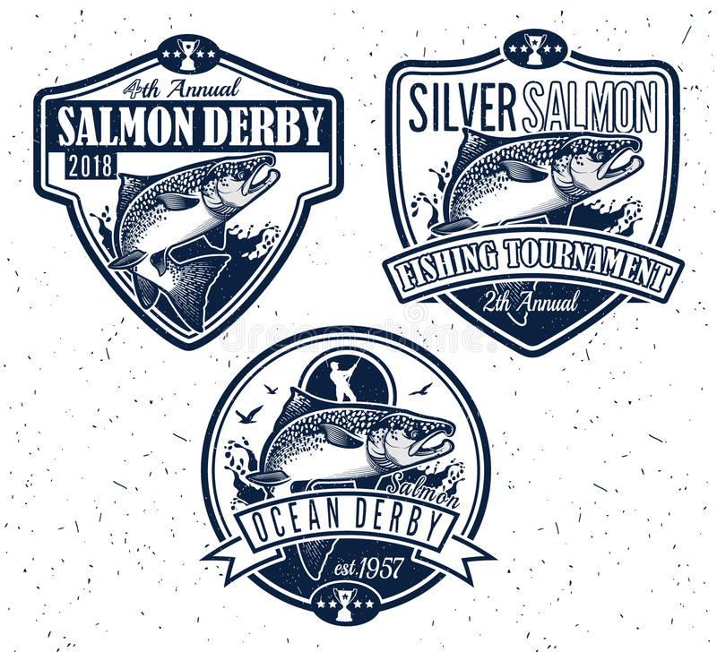 Fiskevektorlogo Salmon Fish symbol royaltyfri illustrationer