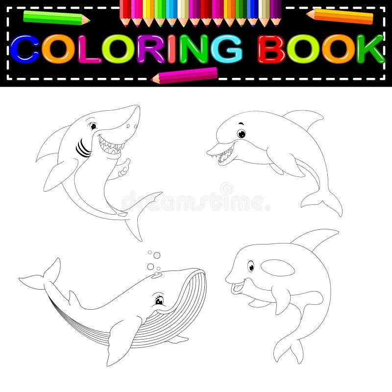Fiskfärgläggningbok royaltyfri illustrationer