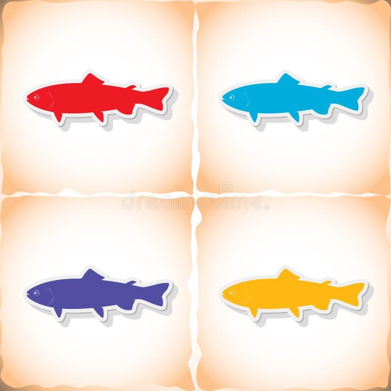 Fiskforell Plan klistermärke med skugga på gammalt papper royaltyfri illustrationer