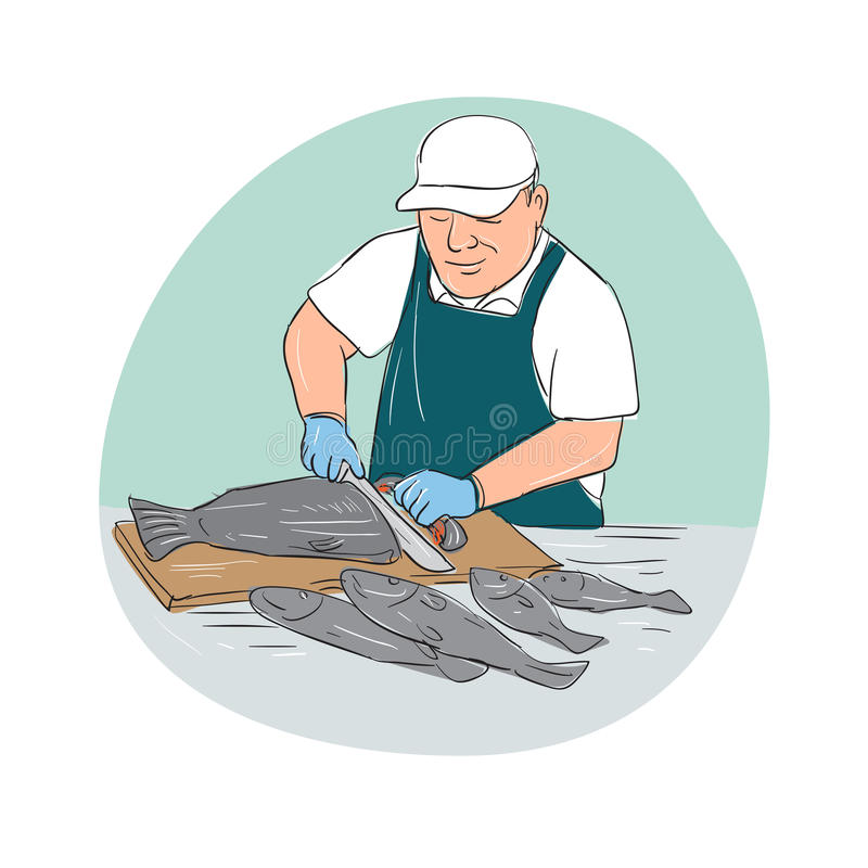 Fiskhandlare Cutting Fish Cartoon stock illustrationer