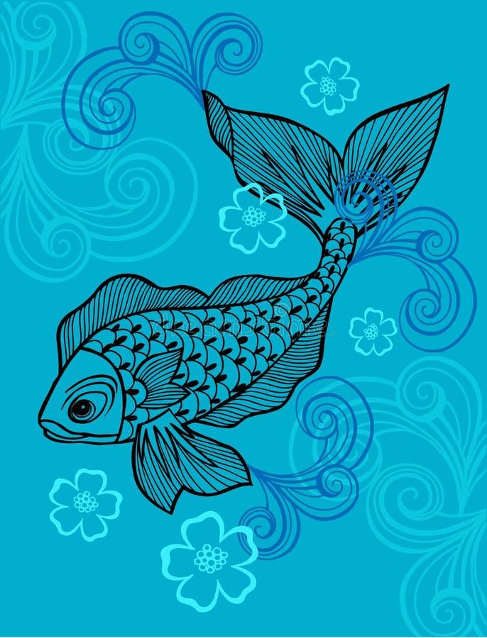 fiskillustrationvektor stock illustrationer