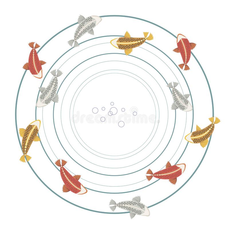 Fiskkarpkoi med dubblett för hav för våg för droppe för cirkel för sjö för vatten för cirklar för modell för färgrik ljus röd sil royaltyfri illustrationer