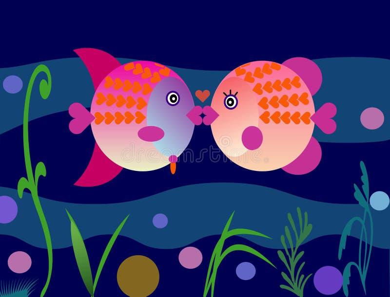fiskkyssvalentiner royaltyfri illustrationer