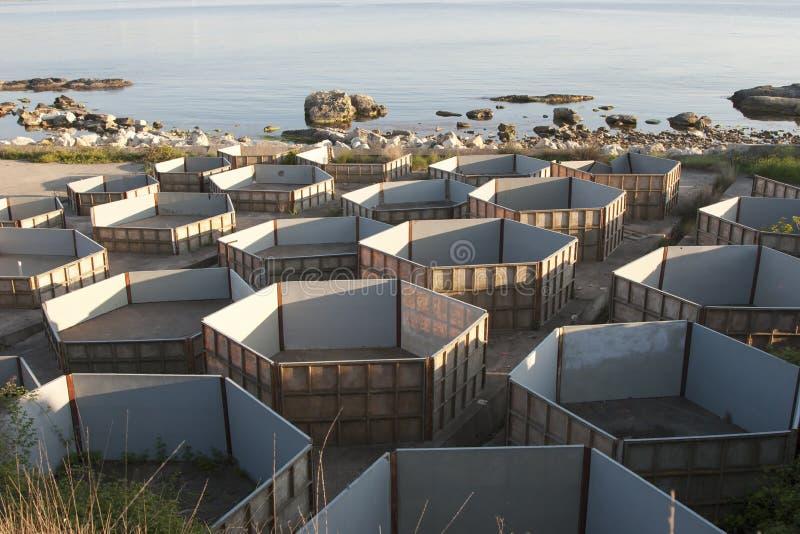 Fisklantgård under konstruktion royaltyfria foton