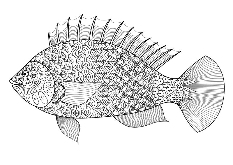 Fisklinje konstzentanglestil för färgläggningboken för vuxna människan, tatuering, logo, t-skjortadesign, beståndsdel för design  vektor illustrationer