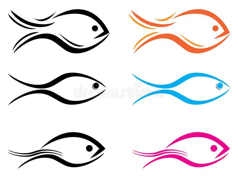 Fisklogo stock illustrationer