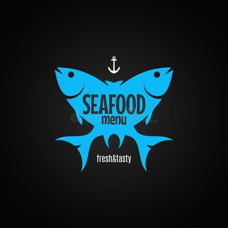Fisklogo havs- meny på svart bakgrund royaltyfri illustrationer