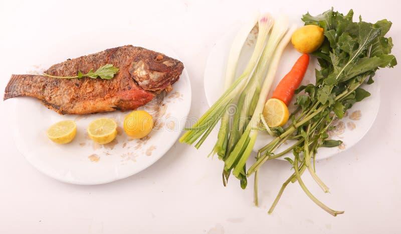 Fiskmål med sallad royaltyfri foto
