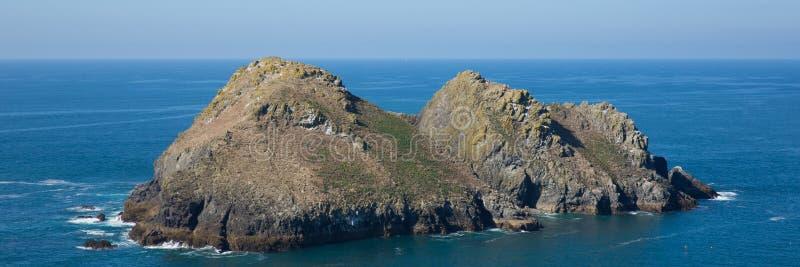 Fiskm?sen vaggar den norr Cornwall f?r den Holywell fj?rden panoramautsikten royaltyfri fotografi