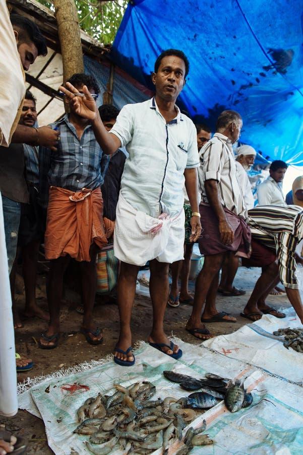 Fiskmarknad på fortet Kochi, Indien arkivbilder