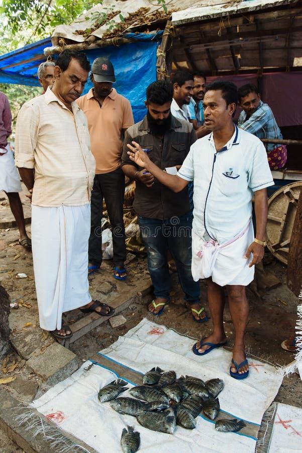 Fiskmarknad på fortet Kochi, Indien royaltyfria bilder