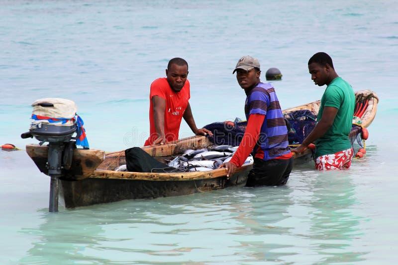 Fiskmarknad på stranden royaltyfri bild