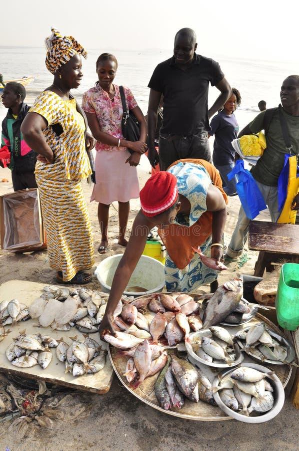 fiskmarknad som säljer senegal kvinnor royaltyfri fotografi