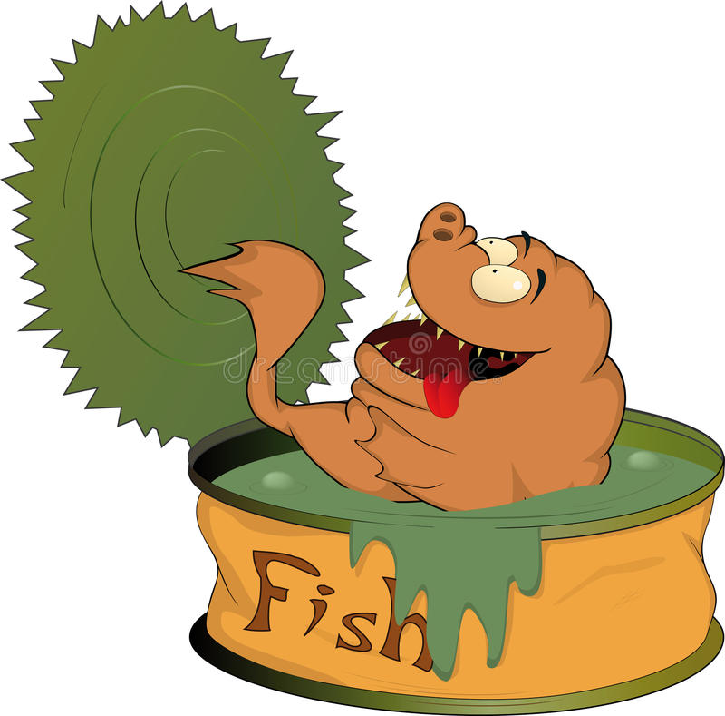 fiskmat på burk stock illustrationer