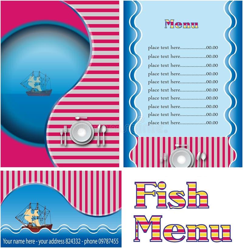 fiskmenyrestaurang royaltyfri illustrationer