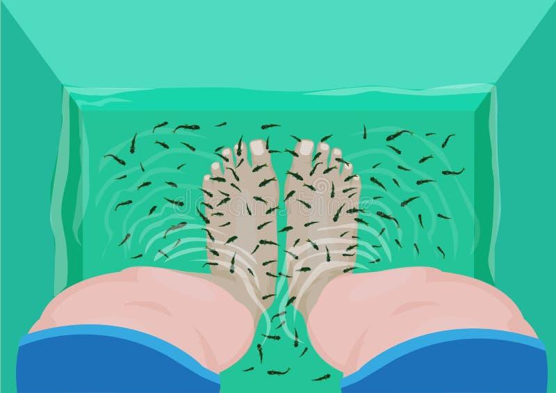 Fiskpedikyr- eller massagebegrepp Den bästa sikten av fot i en Spa massage badar fyllt med rufa för doktor Fish eller Garra Redig stock illustrationer