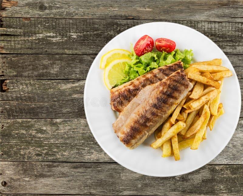 Fiskpommes frites arkivfoton