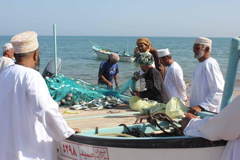 Fisksäljare i Barka, Oman arkivbilder