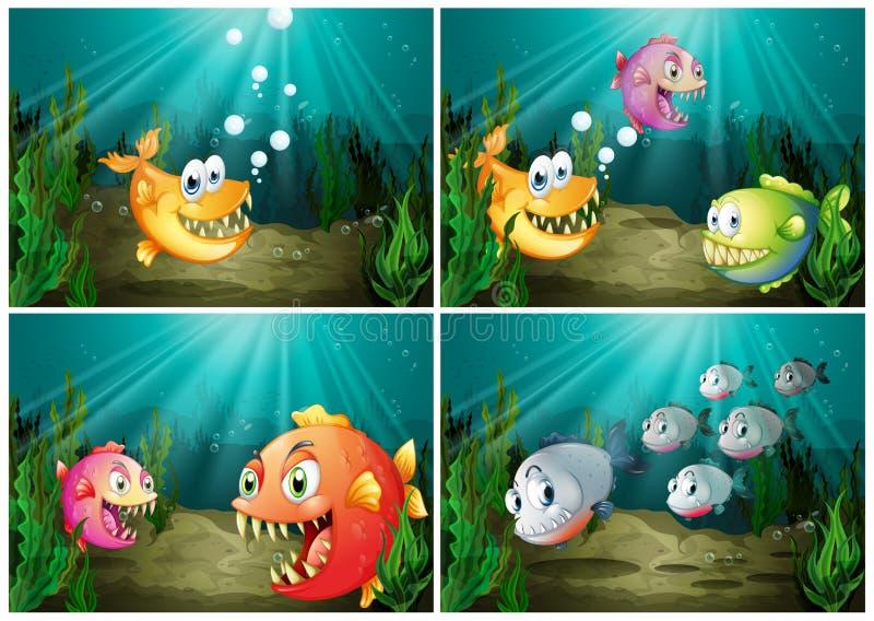 Fisksimning under havet vektor illustrationer