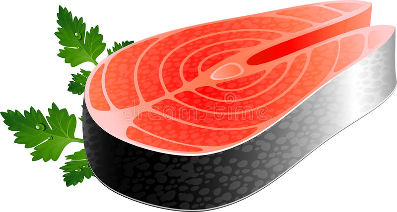 Fisksteak stock illustrationer