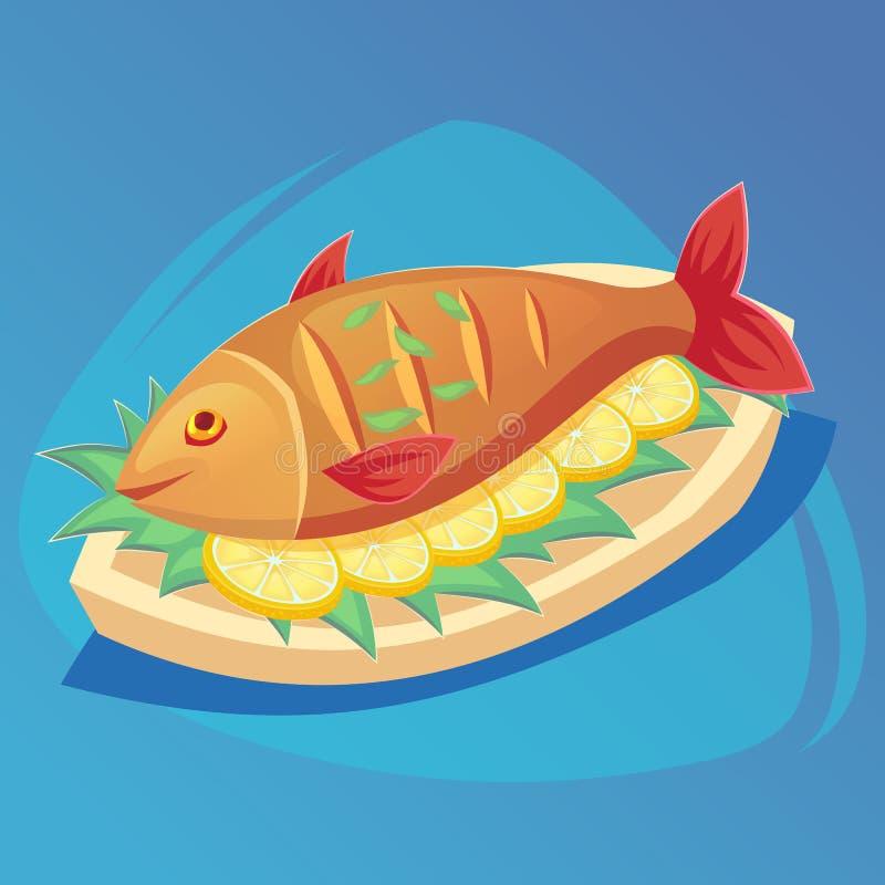 Fisksymbol Crucian på den vita plattan med citronen och örter Mat havs- maträttsymbol Färgtecknet för den nya fisken med röda fen royaltyfri illustrationer