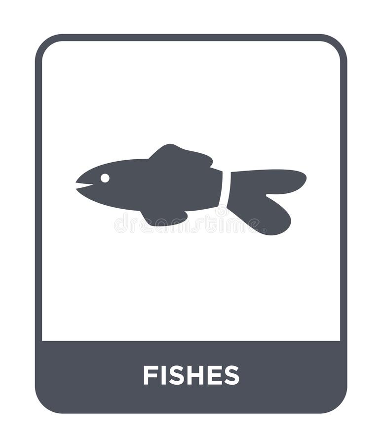 fisksymbol i moderiktig designstil Fiskar symbolen som isoleras på vit bakgrund enkelt och modernt plant symbol för fiskvektorsym stock illustrationer