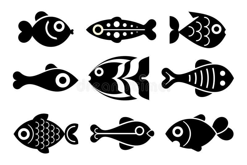 Fisksymbolsuppsättning vektor illustrationer